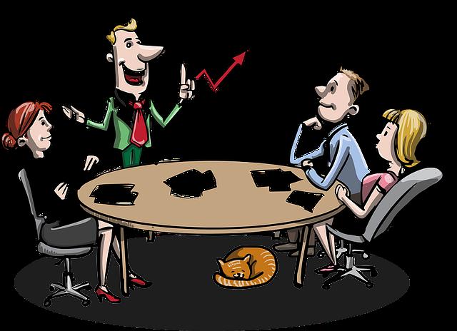 Tecknade figurer vid ett möte
